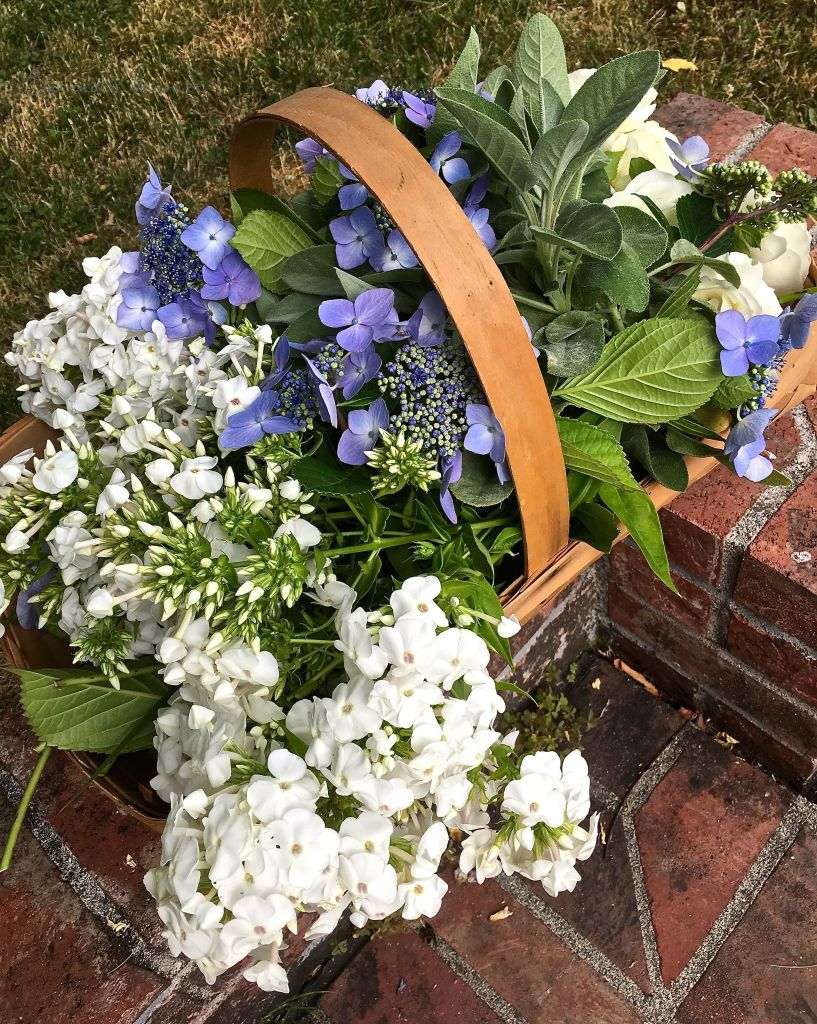Blue And White Garden Bouquets In Antique Sauciers