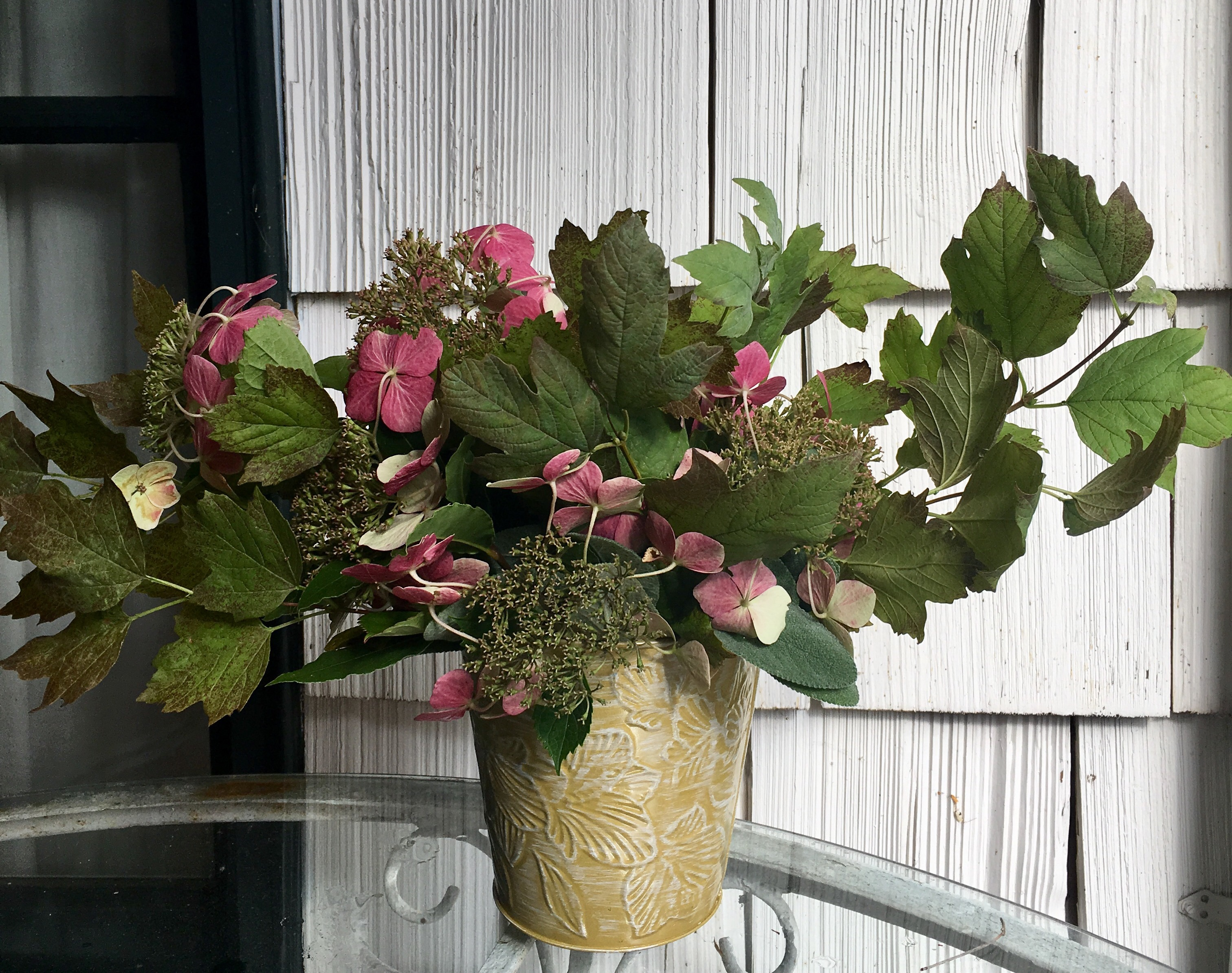Fall bouquet, step 2: adding flowers, lace cap Hydrangeas