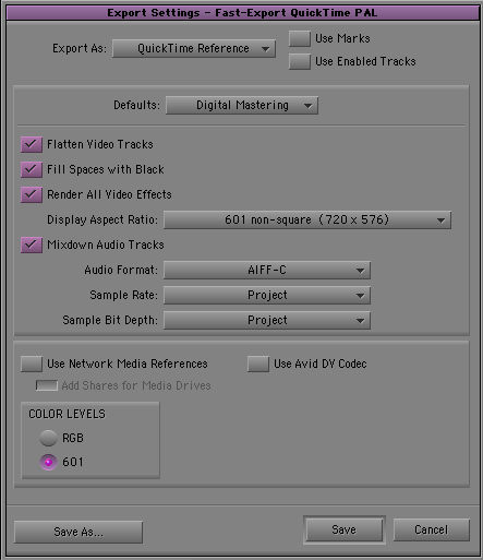 Export QT ref settings