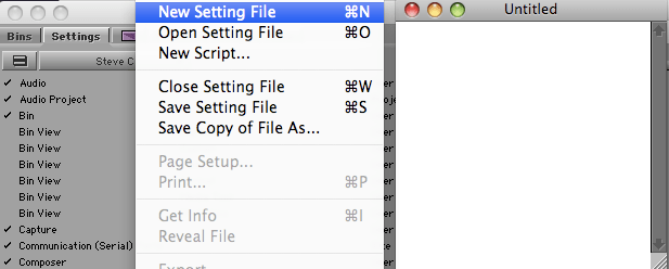 New Setting File Window