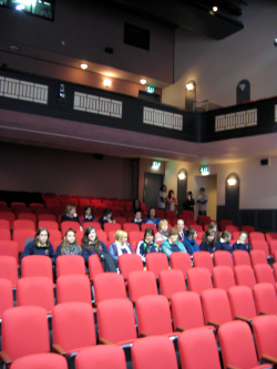 Early arrivals at the Town Hall Theatre for the pitch