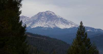 On the road north, this is Mt Shasta in December during a record drought year