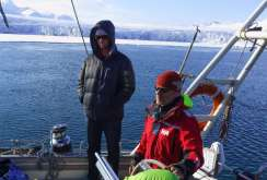 Our trusty captain Stein and Adam Clark as we pull into another beautiful bay of ice