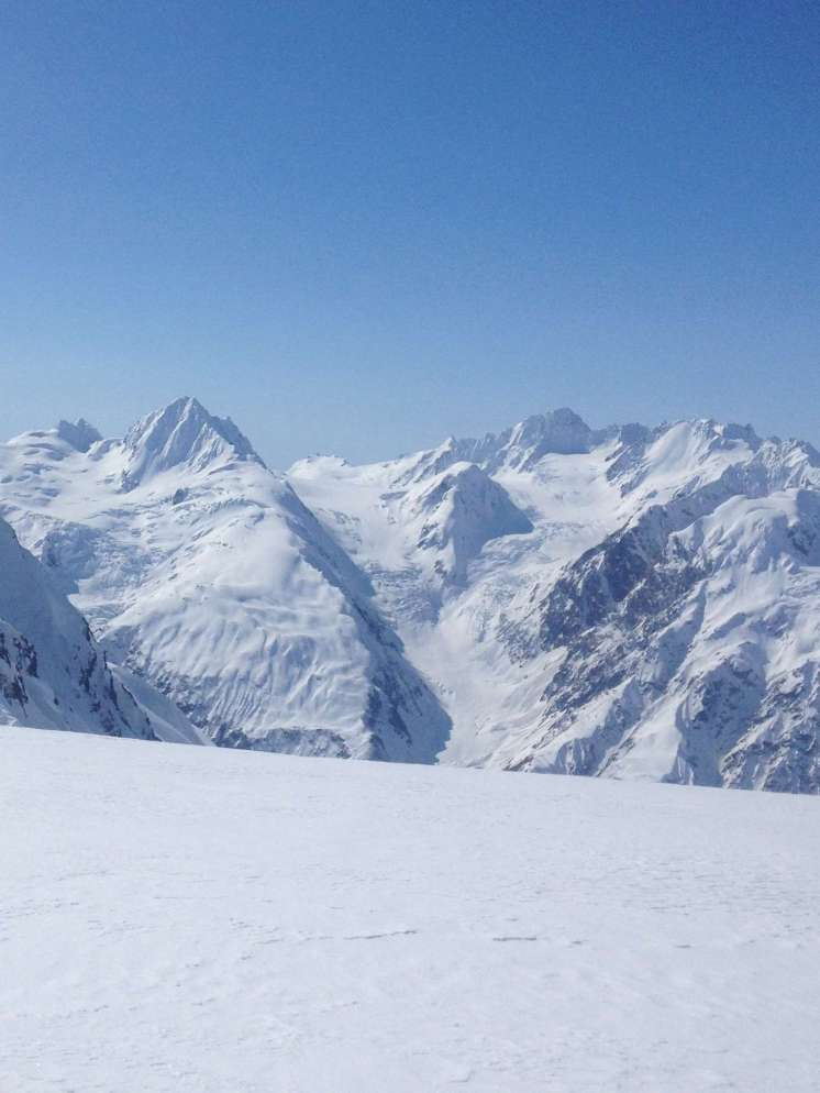 Tomahawk is the main peak on the left side of the photo. Our camp was on the glacier behind and to the right. April 2014