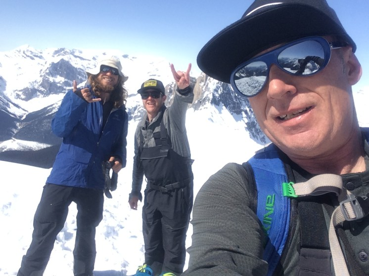 On the summit of mount field with Rance Tuff (taking photo) and Dustin Clark (rock on) April, 2015