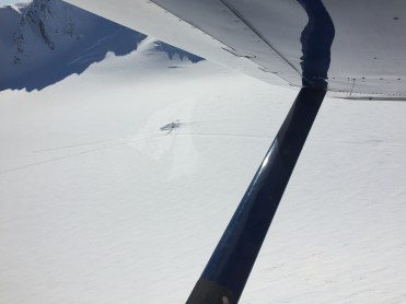 Flying into camp April, 2015