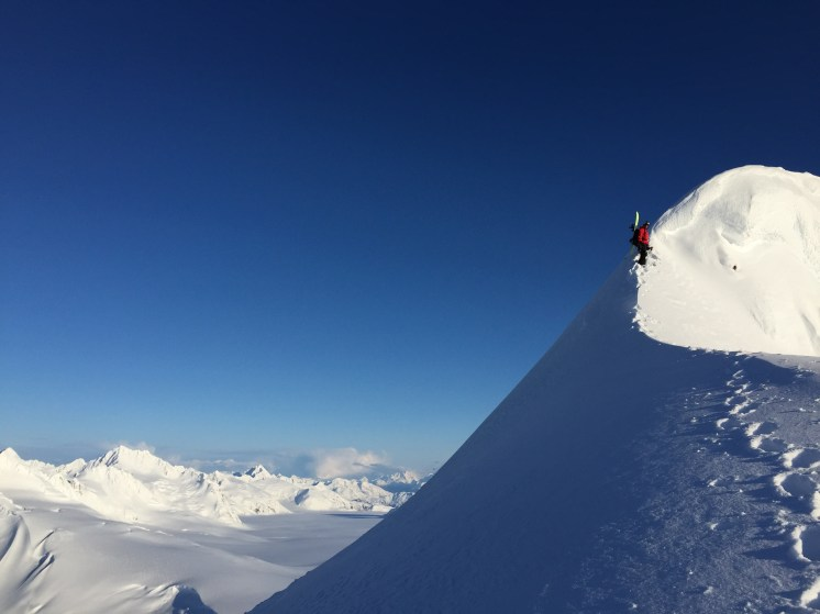 Neil on top of our first line the afternoon we landed in camp. April, 2015