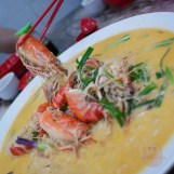 Cheese Prawn Bee Hoon with fresh, large prawns.