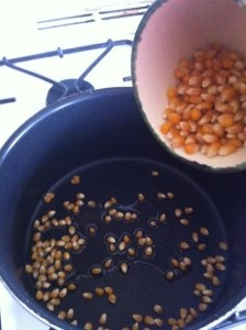 3) Add the corn once the oil is warm