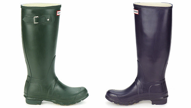 Hunter Original Tall Boots in Olive and Purple