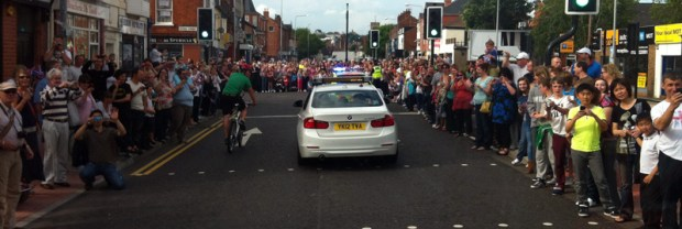 From the Torchbearer Bus - High Street, Lincoln