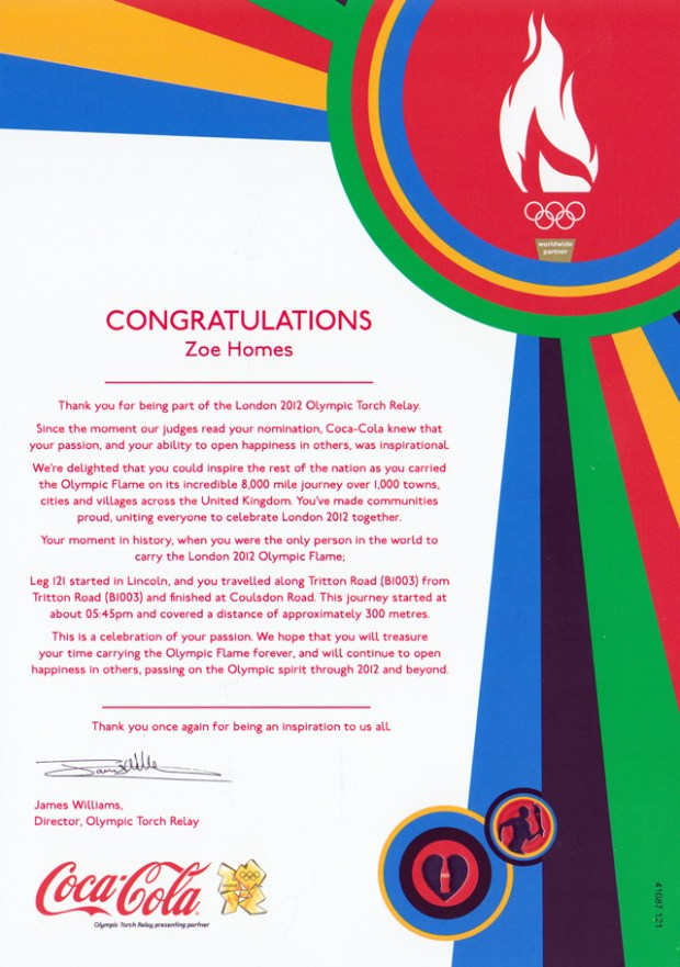 Torch Relay Letter from Coca Cola