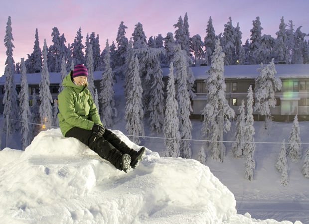 Me in Ruka, Finland, wearing my KEEN Hoodoo High Lace Boots