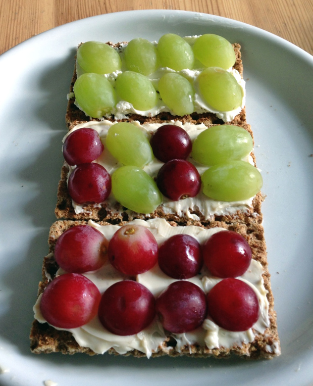 Healthy Lunch - Ryvita with Soft Cheese and Grapes