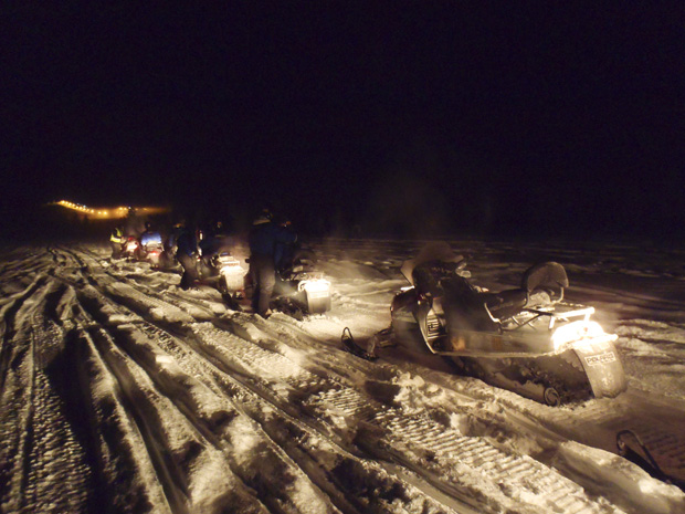 Snowmobiles in Ruka, Finland