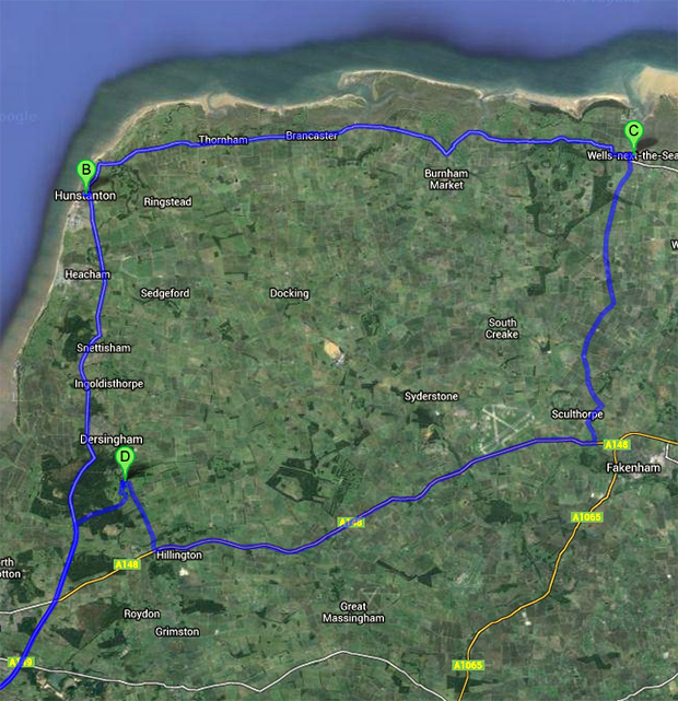 Road Trip to Norfolk - My Route