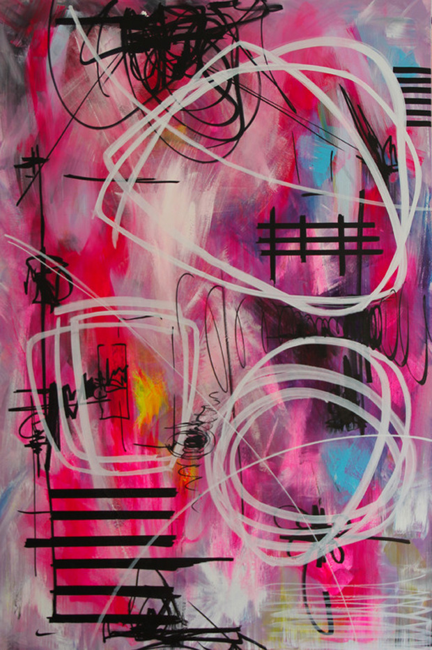 One Very Confused Spring by Yuliya Vladkovska | Acrylic, Flu and Permanent Ink Marker on Canvas @Yuliya Vladkovska