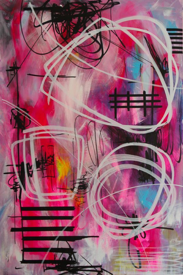 One Very Confused Spring by Yuliya Vladkovska   Acrylic, Flu and Permanent Ink Marker on Canvas @Yuliya Vladkovska