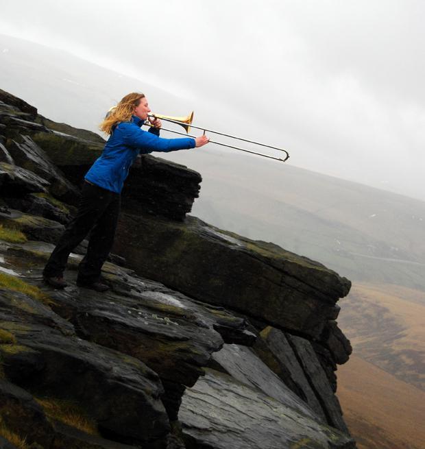 """""""Extreme Tromboning"""" at Buckstones Edge on Marsden Moor"""