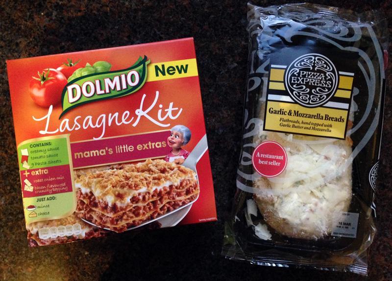 Branded Lasagne and Garlic Bread