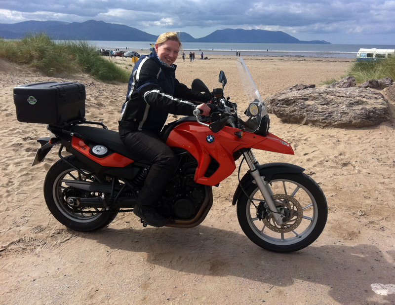 Hired F650GS at Inch Beach, Ireland