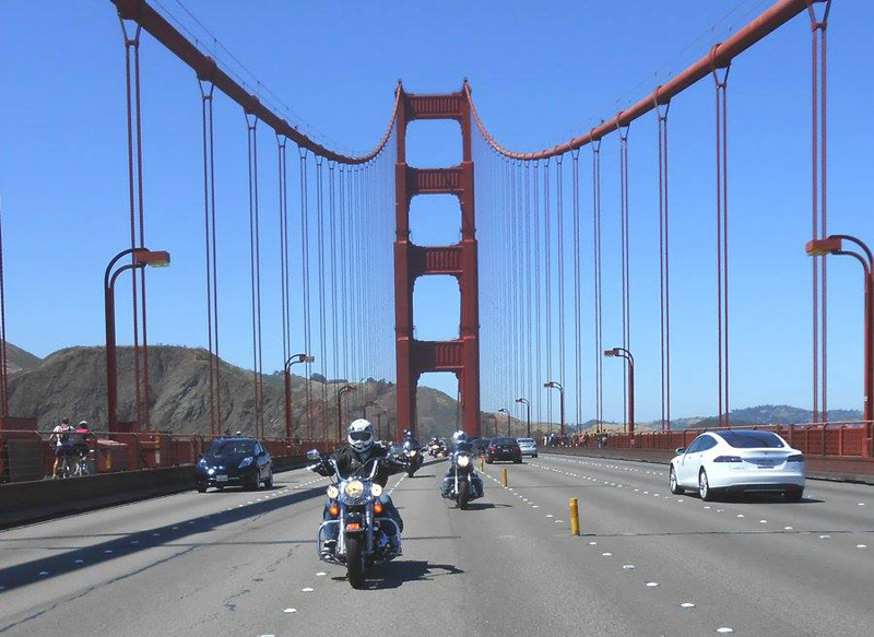Riding over the Golden Gate Bridge into San Francisco