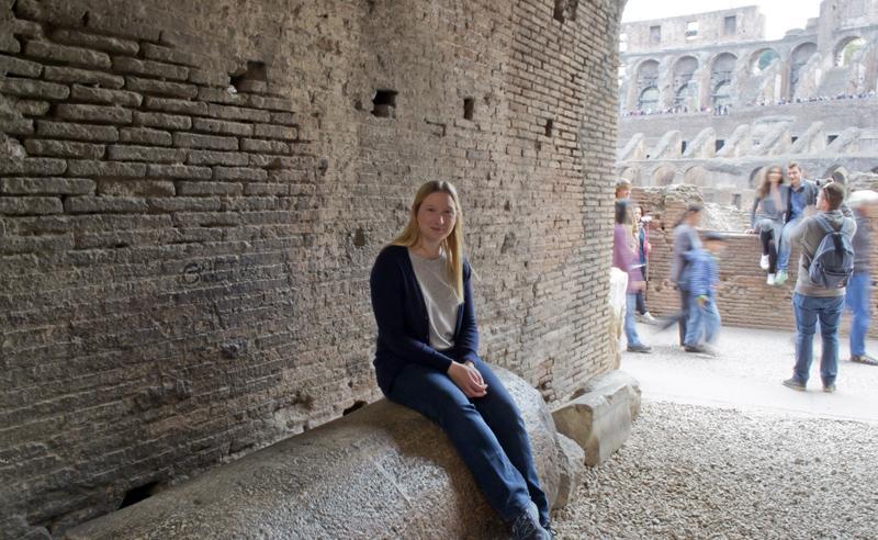 Sat on a column inside the Colosseum