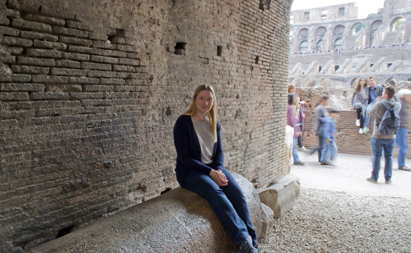 Sat on a column inside the Colosseum