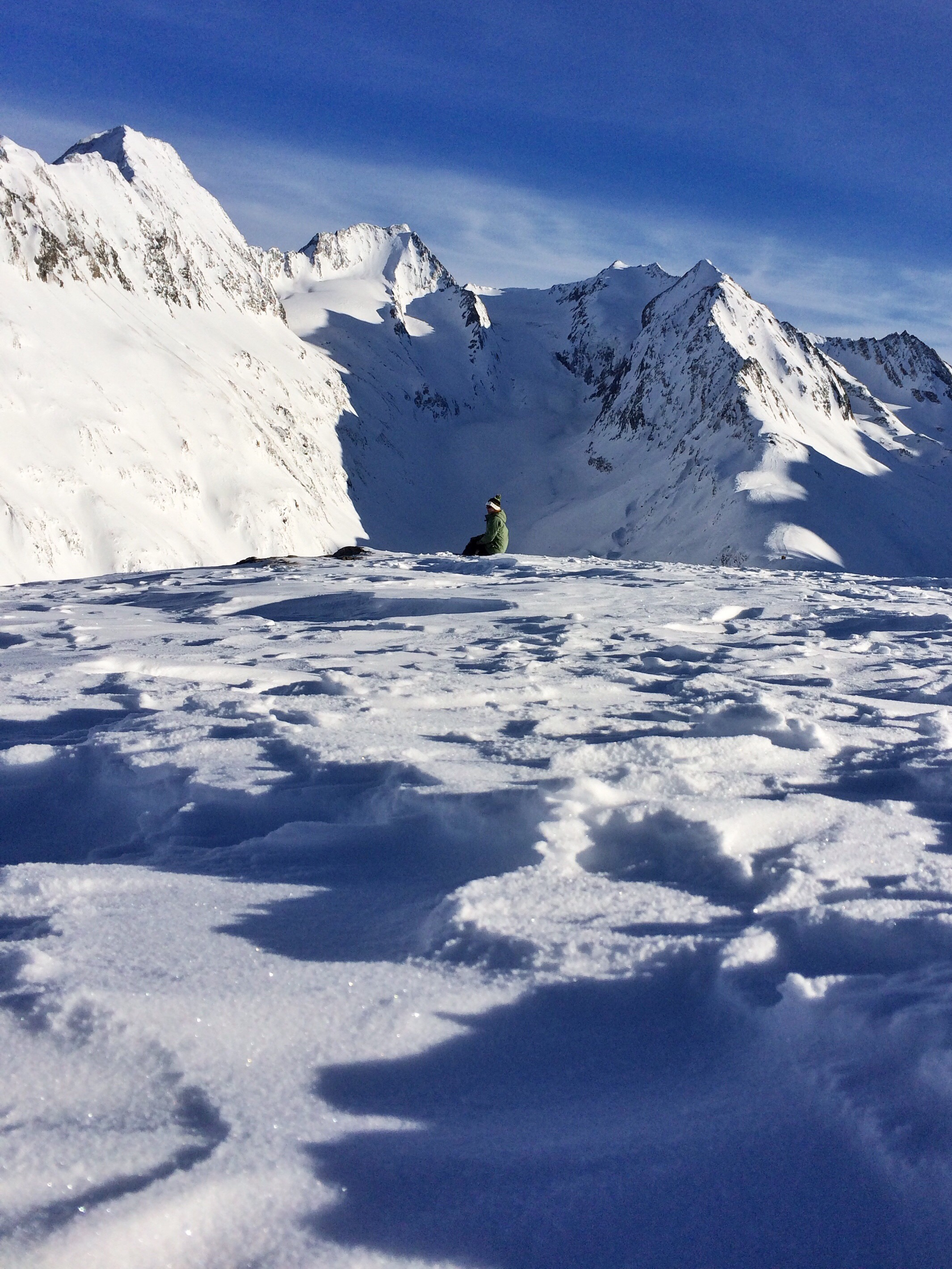 Sitting on Hohe Mut in Obergurgl, Austrian Alps