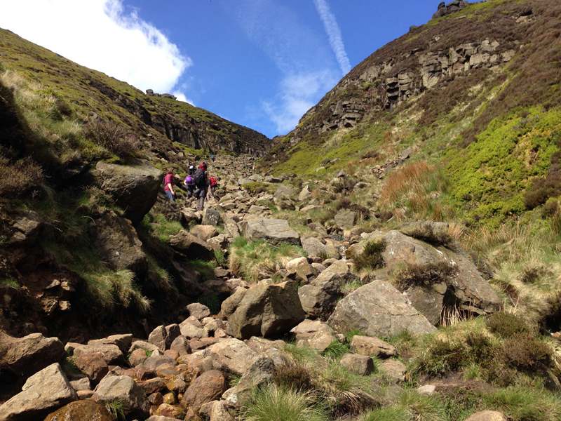 Climbing up Grinds Brook