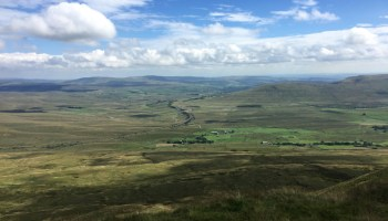 View of the Ribblehead Viaduct, Ingleborough and Pen Y Ghent from Whernside.