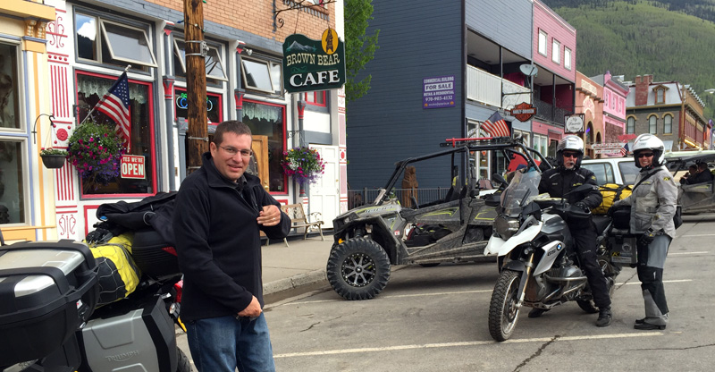 Meeting fellow riders in Silverton, Colorado.