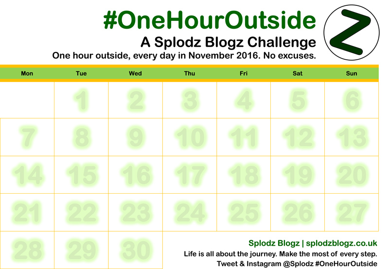 OneHourOutside One Hour Outside Printable Calendar