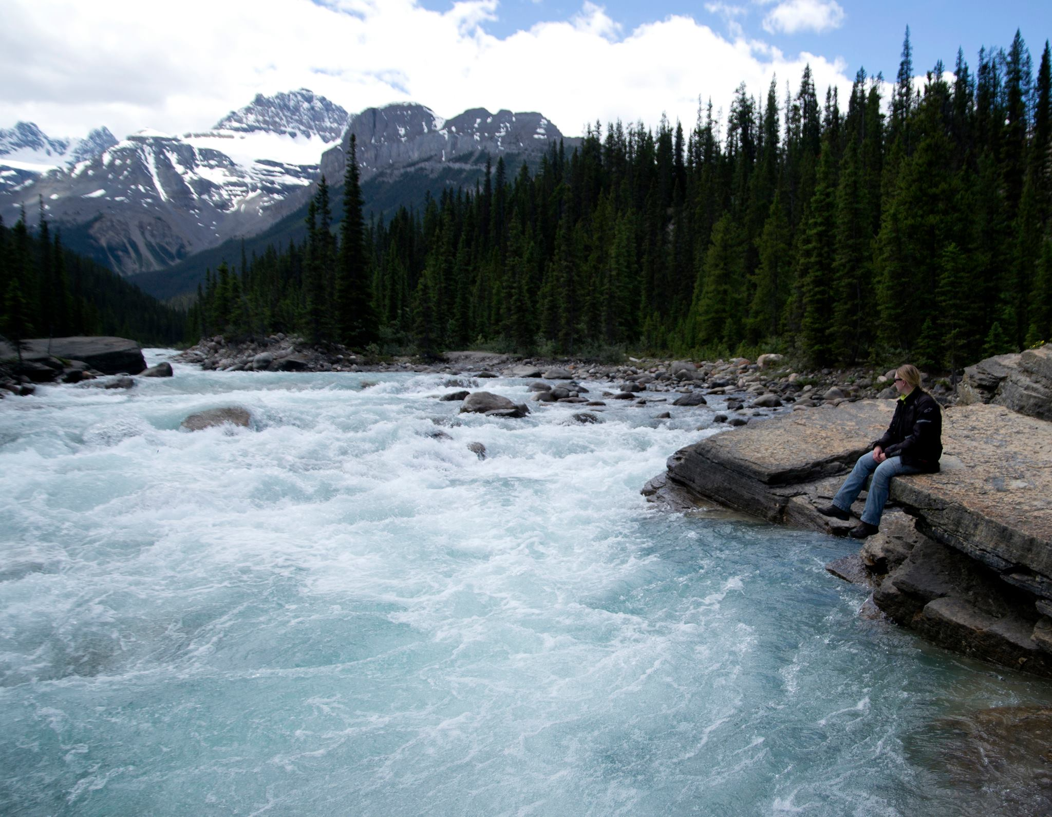 Zoe sat by Mistaya Canyon, Icefields Parkway