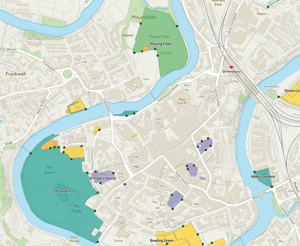 Splodz Blogz | Greenspace Map of Shrewsbury