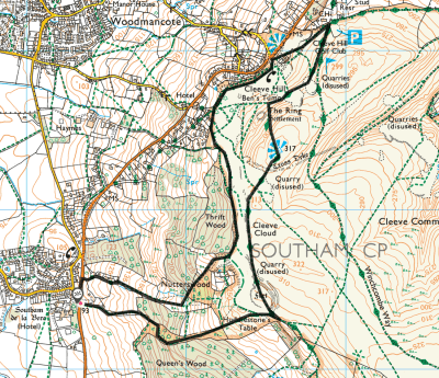Splodz Blogz | OS Route Map Southam and Cleeve Hill