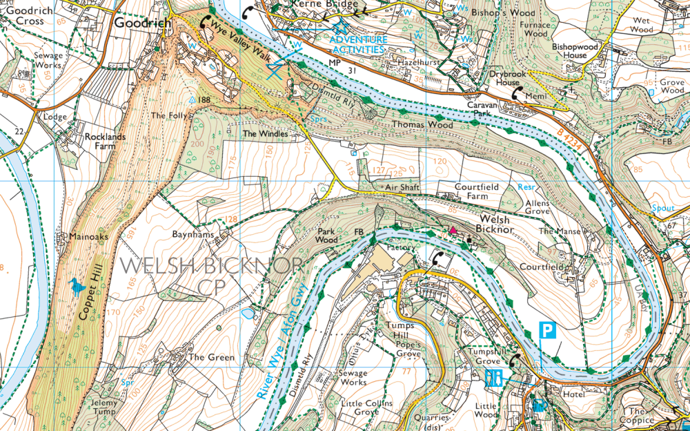 OS Map Showing YHA Wye Valley and Coppet Hill
