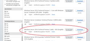 Die verwendete Version des Windows Servers 2016.