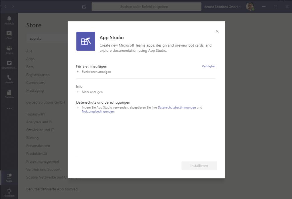 Das App Studio ist auch eine Teams App und zeigt bereits schon einige Möglichkeiten der App Infrastruktur.