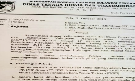 PT INDONESIA TSING SHANG STAINLESS STEEL DIPERINTAHKAN MEMPEKERJAKAN KEMBALI BURUHNYA
