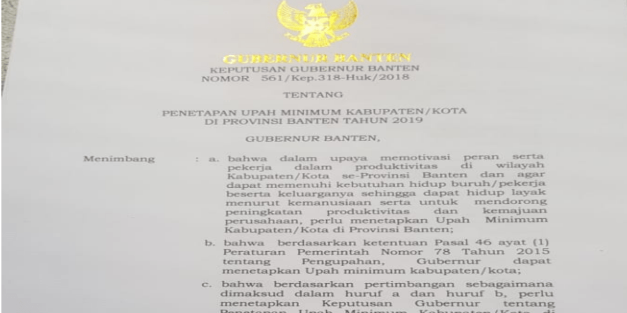 UMK DI PROVINSI BANTEN DISESUAIKAN SESUAI PP NO 78/2015