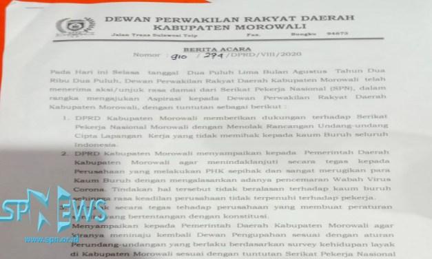 DPRD MOROWALI TERIMA 6 POINT TUNTUTAN SPN MOROWALI