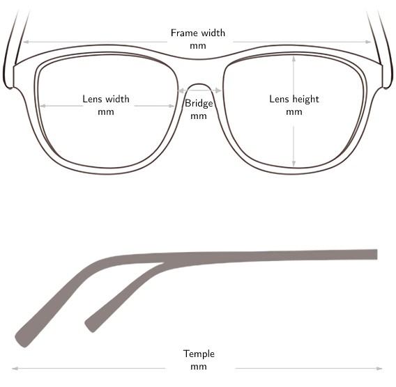 Sunglasses fram size