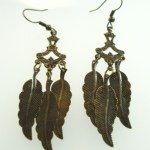 Metal Dangle Bronze Gypsy Earrings Feathers