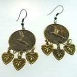 Metal Dangle Funky Bronze Gypsy Jewelry Earrings Pair