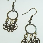 Metal Dangle Bronze Gypsy Earrings Small Stars