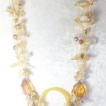 Yellow Jade Gem Stone Necklace Citrine chips Plus Amber Glass Beads
