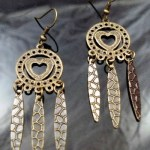 Metal Dangle Bronze Gypsy Earrings Hammered Heart