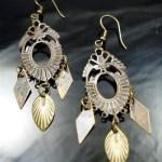 Metal Dangle Bronze Gypsy Earrings Leaves