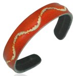 Leather Orange Waves Cuff Bracelets
